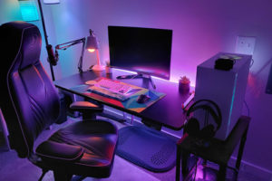 Desktop gaming battlestation with ambient lighting