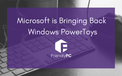 "keyboard and mouse with purple rectangle and title saying ""Microsoft is bringing back Windows PowerToys"" and Friendly PC logo"
