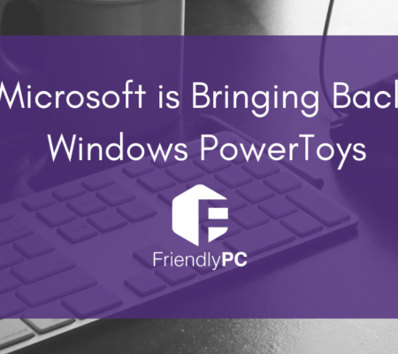 """keyboard and mouse with purple rectangle and title saying """"Microsoft is bringing back Windows PowerToys"""" and Friendly PC logo"""