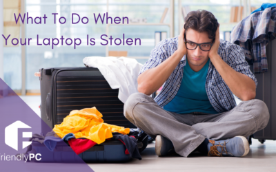 "sad man sitting on the floor with open luggage and blog title saying ""What To Do When Your Laptop Is Stolen"""
