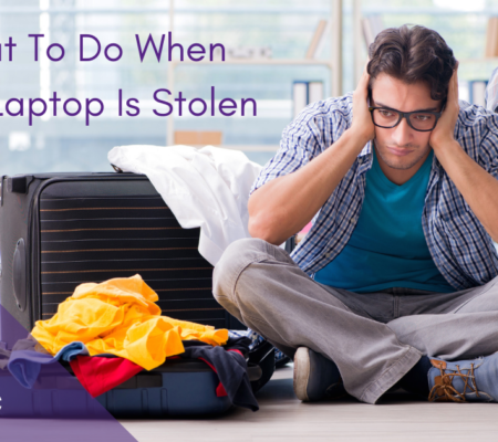 """sad man sitting on the floor with open luggage and blog title saying """"What To Do When Your Laptop Is Stolen"""""""