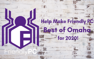 "Friendly PC logo shaped like spider and saying ""Help Make Friendly PC Best of Omaha for 2020!"""