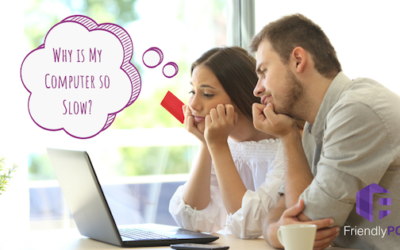 """Couple looking at computer with thought bubble saying """"Why is my computer so slow?"""""""